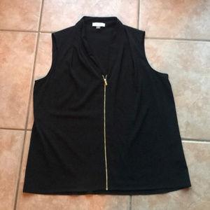 Calvin Klein Black Front Zip Tank Blouse Size XL